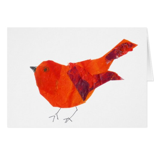 Pájaro animal lindo del rojo de la fauna del arte  tarjetón