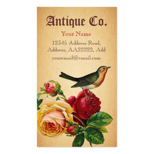 Pájaro antiguo y tarjeta de visita color de rosa