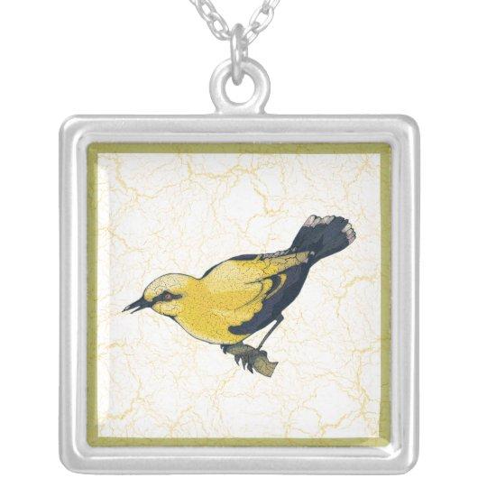 Pájaro Antiqued de Oriole Collar Plateado