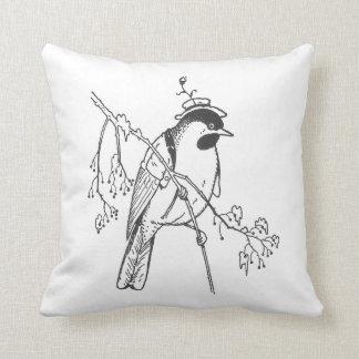 Pájaro apuesto del vintage cojin