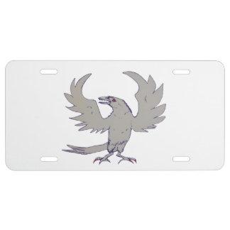 Pájaro asustadizo del cuervo del cuervo placa de matrícula