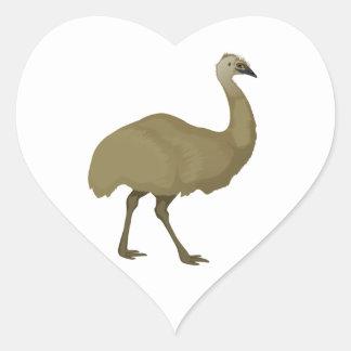 Pájaro australiano del Emu Calcomanía De Corazón