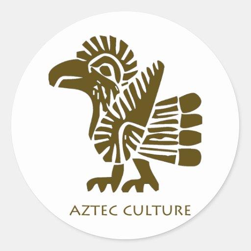 ¡Pájaro azteca de la cultura! ¡Arte antiguo Pegatina Redonda