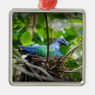 Pájaro azul adorno navideño cuadrado de metal