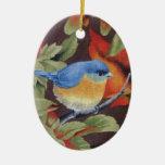 Pájaro azul adornos