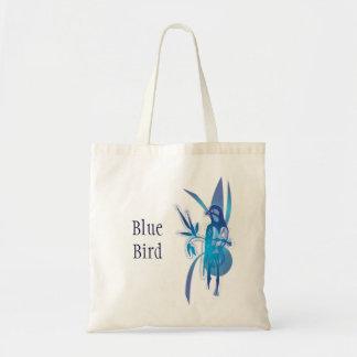 Pájaro azul bolsa tela barata