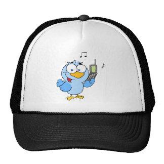 Pájaro azul con la burbuja del teléfono celular y  gorra