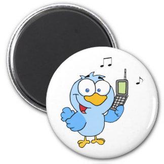 Pájaro azul con la burbuja del teléfono celular y  imán redondo 5 cm