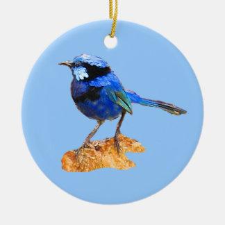 Pájaro azul de la felicidad adorno navideño redondo de cerámica