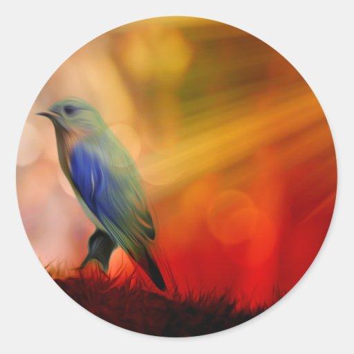 Pájaro azul de la felicidad pegatina redonda