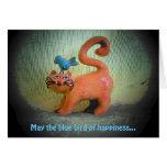 pájaro azul de la felicidad tarjeton