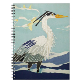 Pájaro azul de la garza libros de apuntes con espiral