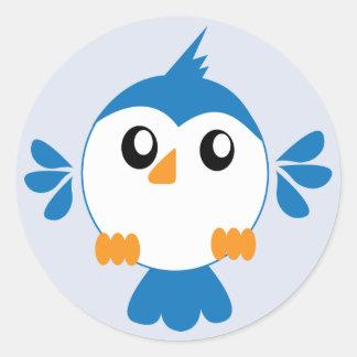 Pájaro azul de Lil Pegatina Redonda