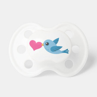 Pájaro azul del amor con el corazón rosado chupete