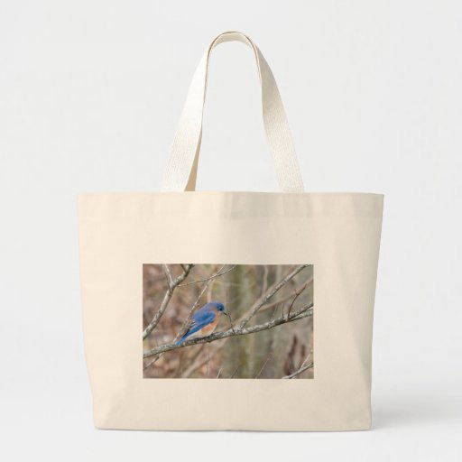 Pájaro azul del Bluebird en árbol Bolsa Tela Grande