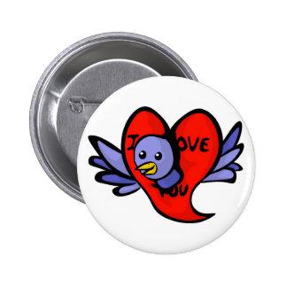 Pájaro azul del botón del día de San Valentín Pin Redondo De 2 Pulgadas