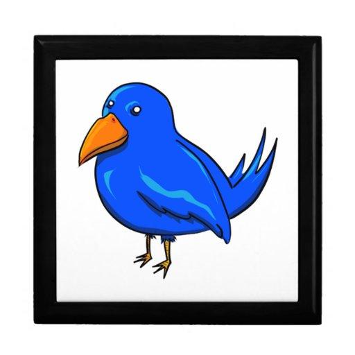 Pájaro azul del dibujo animado cajas de recuerdo