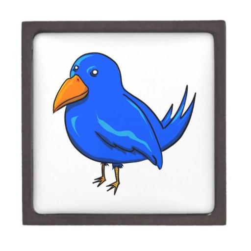 Pájaro azul del dibujo animado caja de joyas de calidad