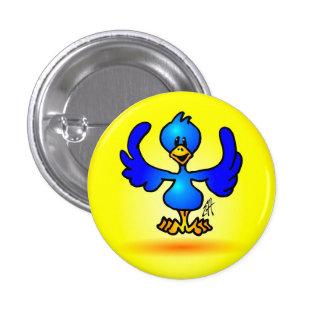 Pájaro azul del gorjeo pin redondo de 1 pulgada