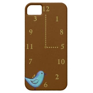 Pájaro azul del reloj de cuco con números del oro iPhone 5 carcasa
