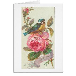 Pájaro azul del vintage y cumpleaños rosado de la  tarjeta