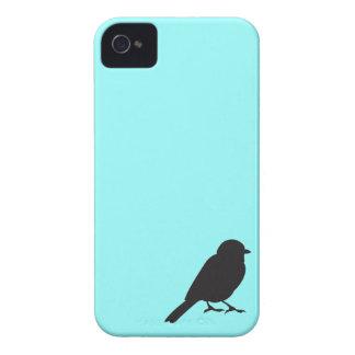 Pájaro azul elegante del trago de la silueta del g iPhone 4 Case-Mate carcasas