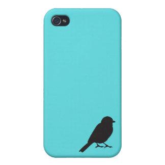 Pájaro azul elegante del trago de la silueta del g iPhone 4 cárcasa