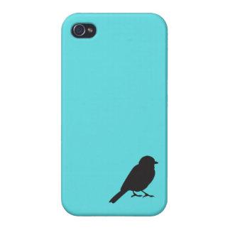 Pájaro azul elegante del trago de la silueta del g iPhone 4/4S carcasa