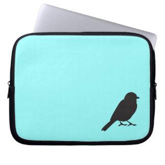 Pájaro azul elegante del trago de la silueta del g mangas portátiles