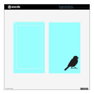Pájaro azul elegante del trago de la silueta del skin para kindle fire