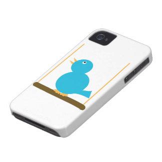 Pájaro azul en una caja de la casamata de la perca iPhone 4 Case-Mate fundas