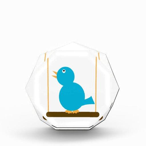 Pájaro azul en una decoración del acrílico de la p