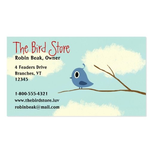 Pájaro azul en una rama de árbol con el cielo nubl tarjetas de visita