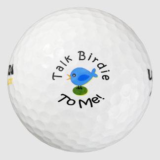 "Pájaro azul graciosamente ""chirrido de la charla a pack de pelotas de golf"