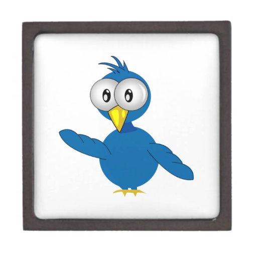Pájaro azul Grande-Observado del dibujo animado Caja De Joyas De Calidad