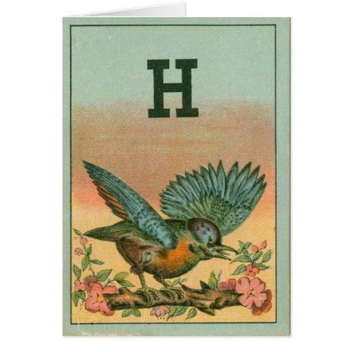 Pájaro azul H Tarjeta De Felicitación