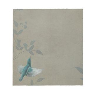 Pájaro azul hermoso bloc de notas