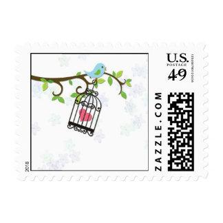 Pájaro azul, jaula de pájaros timbres postales