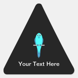 Pájaro azul lindo. Parakeet. Negro Pegatina Triangular