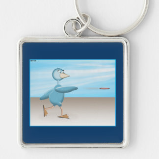 Pájaro azul llavero cuadrado plateado
