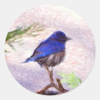 Pájaro azul pegatina redonda