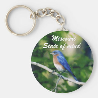 Pájaro azul solo, Missouri, estado de ánimo Chan d Llavero Redondo Tipo Pin