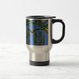 Pájaro azul taza de viaje de acero inoxidable