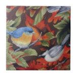 Pájaro azul tejas  ceramicas