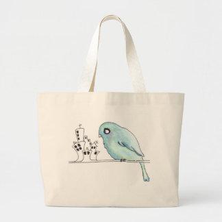 pájaro azul urbano en un alambre bolsa tela grande
