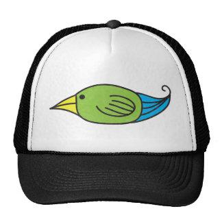 Pájaro azul, verde, amarillo gorros