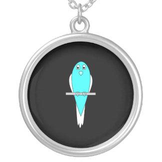 Pájaro azul y blanco. Parakeet. Negro Colgante Redondo