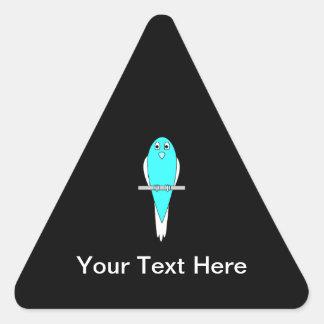 Pájaro azul y blanco. Parakeet. Negro Pegatina Triangular