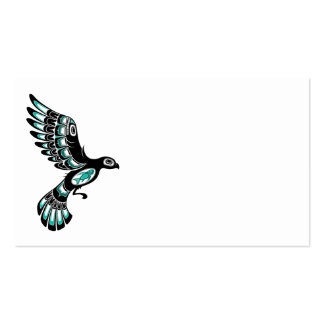 Pájaro azul y negro del trullo del vuelo del Haida Tarjeta Personal
