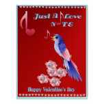 Pájaro azul y poster Nota-indicado con letras del